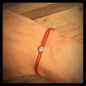Jewelry - Delicate Vermeil CZ Bracelet on Red Cord